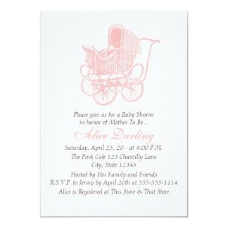 Vintage Pink Baby Carriage Baby Shower Card