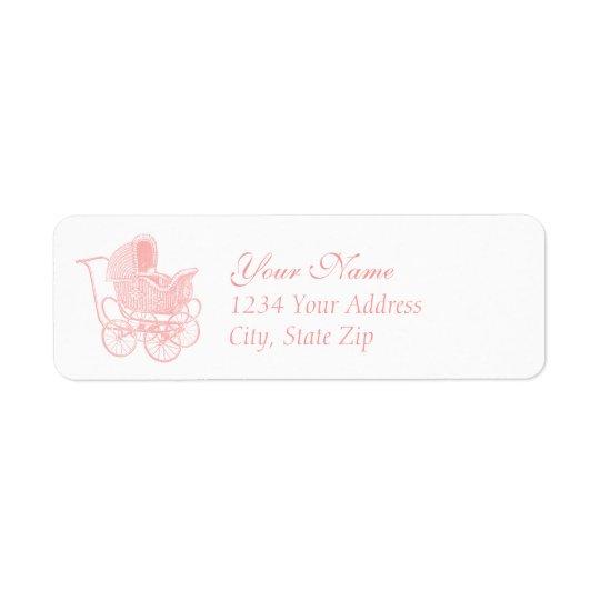 Vintage Pink Baby Carriage Return Address Label