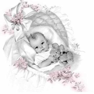 Vintage Pink Baby Girl Shower Standing Photo Sculpture