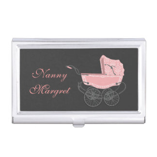 Vintage Pink Baby Pram Business Card Holder