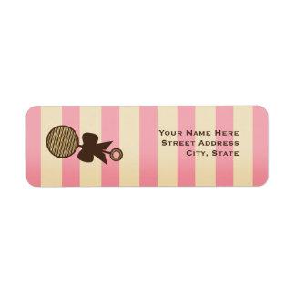 Vintage Pink Baby Shower Rattle & Stripes Return Address Label