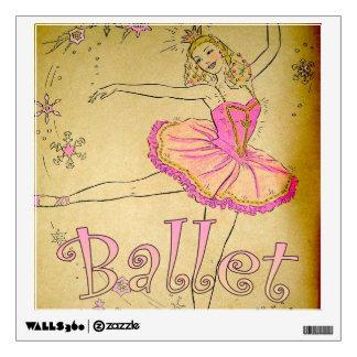 Vintage Pink Ballerina Bedroom Decal
