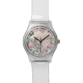 Vintage pink black floral Paris Eiffel Tower typo Watches