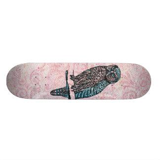 Vintage Pink Blue Cute Owl Skate Deck