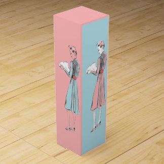 Vintage pink blue ladies fashion gift bottle box