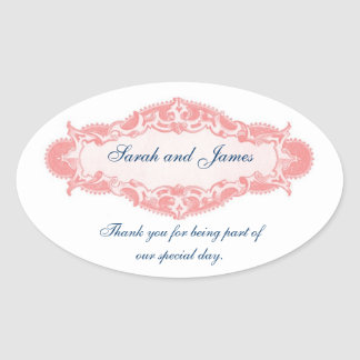 Vintage Pink Blue Thank You Wedding Stickers