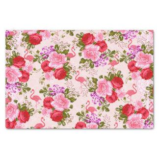 Vintage pink botanical flowers tropical flamingo tissue paper