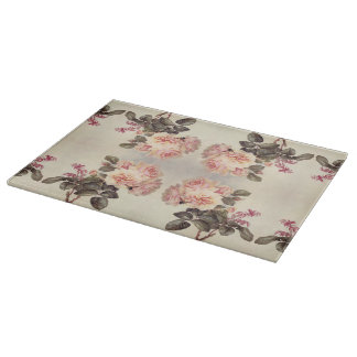Vintage Pink Cabbage Rose Flowers Cutting Board