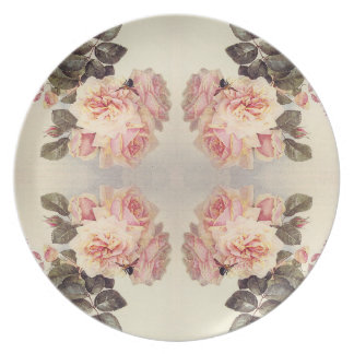 Vintage Pink Cabbage Rose Flowers Plate