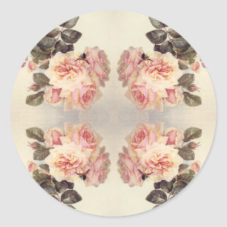 Vintage Pink Cabbage Rose Flowers Stickers