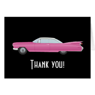 Vintage Pink Cadillac with Black Background Card