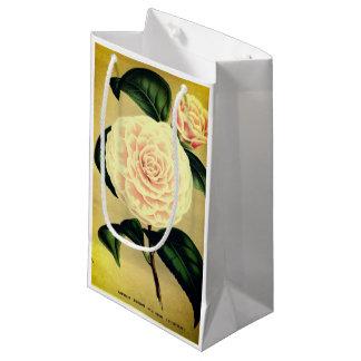 Vintage pink camellia flower gift bag
