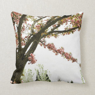 Vintage pink cherry blossom tree throw pillow