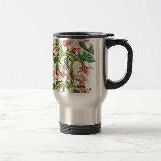 Vintage Pink Chrysanthemum Flower Travel Mug
