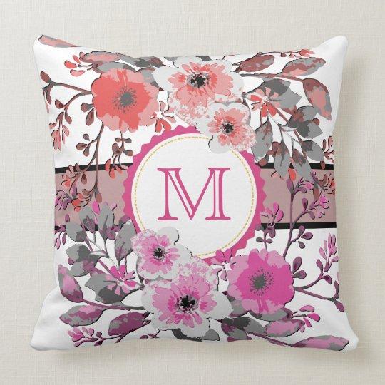Vintage Pink Coral Floral Modern Monogram Throw Pillow