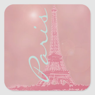 Vintage Pink Eiffel Tower Square Sticker