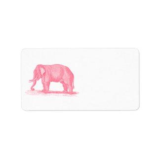 Vintage Pink Elephant 1800s Elephants Illustration Label