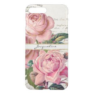 Vintage Pink English Roses w Script Lettering Art iPhone 7 Plus Case