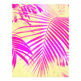 Vintage pink exotic palm tree retro yellow flyer