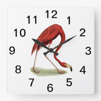 Vintage Pink Flamingo #1 Square Wall Clock
