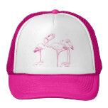 Vintage  Pink Flamingo Drawing Trucker Hat