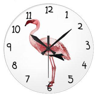Vintage Pink Flamingo Painting Wallclocks