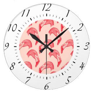 Vintage Pink Flamingo Pattern Wallclocks