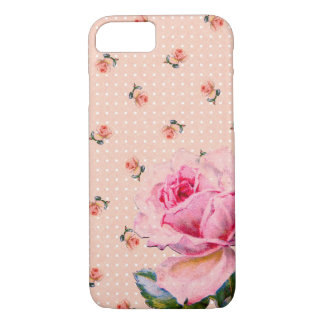 Vintage Pink Floral and Dots iPhone 7 Case