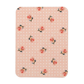 Vintage pink floral and dots magnet
