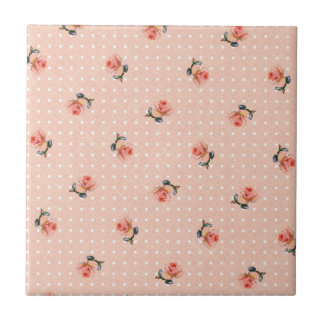 Vintage pink floral and dots tile