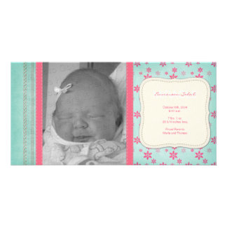 Vintage Pink Floral Birth Announcement Card