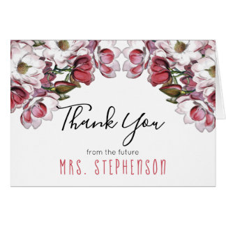 Vintage Pink Floral Botanical Bridal Thank You Card