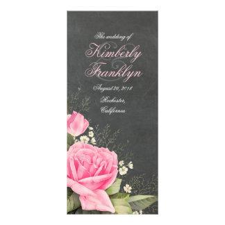 vintage pink floral chalkboard Wedding Program