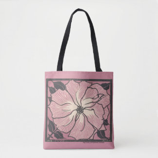 vintage pink floral design, pretty tote bag