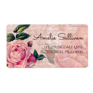 Vintage Pink Floral French Ephemera Return Address Shipping Label