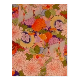 Vintage Pink Floral Kimono Flower Pattern Postcard
