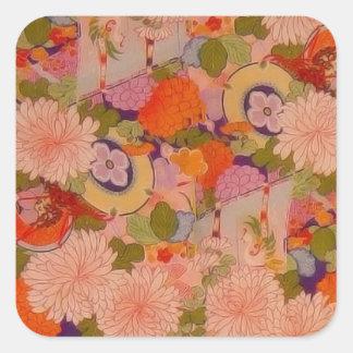Vintage Pink Floral Kimono Flower Pattern Square Sticker