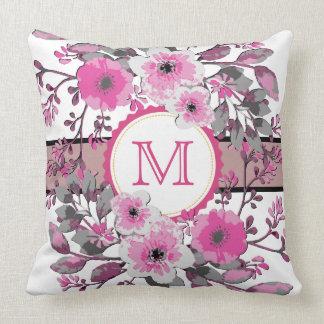 Vintage Pink Floral Modern Monogram Throw Pillow