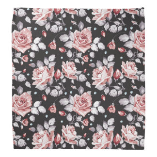 Vintage Pink Floral Pattern Bandana