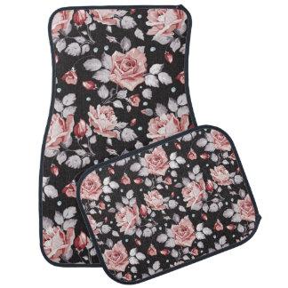 Vintage Pink Floral Pattern Car Floor Mat