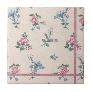 Vintage Pink Floral Pattern Ceramic Tile