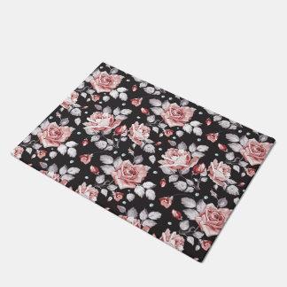 Vintage Pink Floral Pattern Door Mat