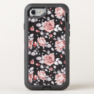 Vintage Pink Floral Pattern OtterBox Defender iPhone 7 Case