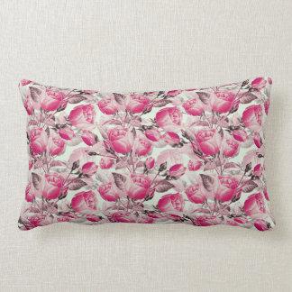 Vintage Pink Floral Roses Pattern Lumbar Pillow
