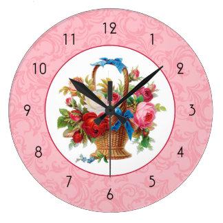 Vintage Pink Floral Round Wall Clock