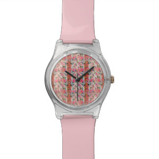 Vintage Pink Floral Stripes Wrist Watches