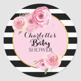 Vintage Pink Flower Baby Shower cicles sticker