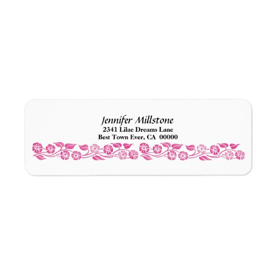 Vintage Pink Flower Border Return Address