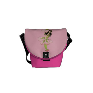 Vintage Pink Flower Fairy Graphic Messenger Bag