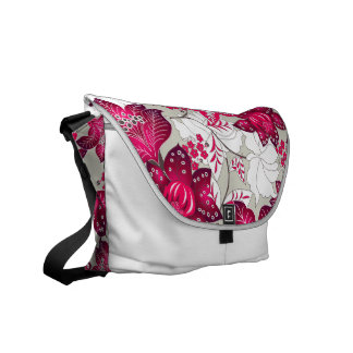 Vintage pink flowers courier bag